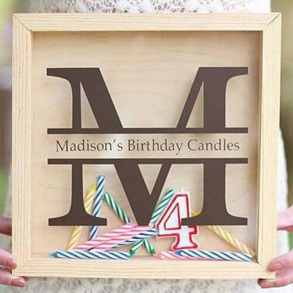 Candle Storage Birthday Monogram For Shadow Box DIY Gift