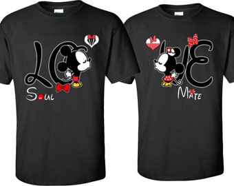 Mickey & Minnie Soul Mate  Front designs Couple T-Shirts
