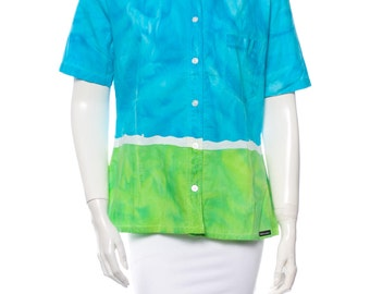 D&G Blue/Green Cotton Button Up Shirt Made in Italy