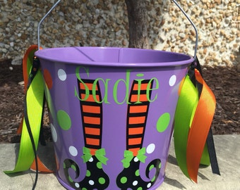 Halloween Bucket-Personalized trick or treat pail-candy pail- witch bucket- candy bucket- girl's trick or treat basket- candy treat