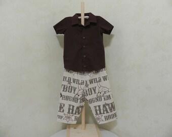 Children's Clothing-Boys Pants Set-Cowboy- Brown-Kids Clothing-Infant Clothing