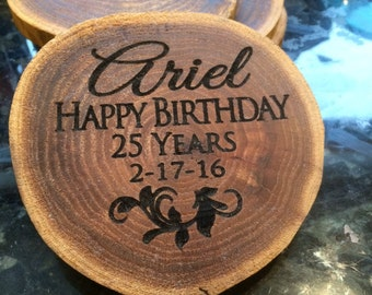 1 Personalized Birthday Coaster, Birthday Plaque, Rustic Coaster, Drink Coaster, Custom Coaster, Personalized Birthday Gift