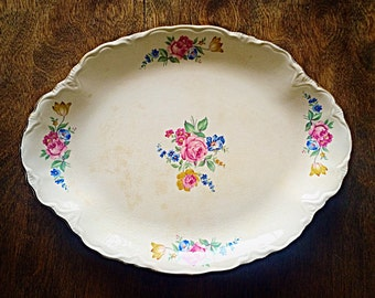 Floral shabby chic serving platter, unmarked, vintage floral platter, cottage chic platter, country chic platter, garden plarty platter