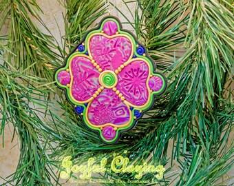 Mixed media green/blue/gold Clay Ornament