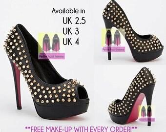 Spiked peep toe heels. UK Sizes 2.5, 3 & 4.