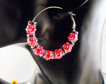 Spring Bling Pink and Purple Hoop Earrings - 2in - Basketball Wives Style