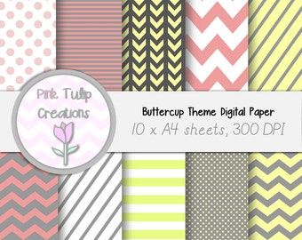 A4 Clip Art Backgrounds- Buttercup Theme x 10