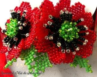 Red poppy bead Beaded jewelry Beaded earrings Red poppy Earrings poppies Ukrainian beads Red Beautiful gift  Red flower Floral earrings