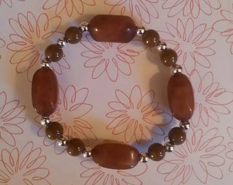 8mm Brown Beaded Bracelet with Accented Jewels