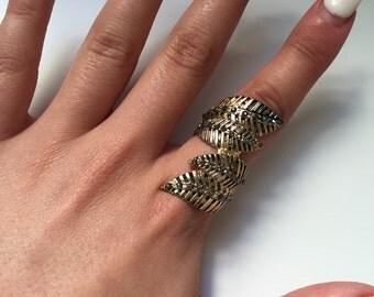 Gold Leaf Wrap Ring Size Small-Medium