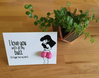 I Love You With All My Butt Card. Printable Card. Love Card. Balloon Card. I Love You Card.  Instant Digital Download.