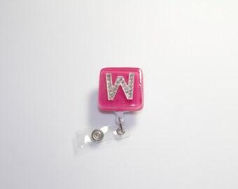 Badge Reel - Initial W - Retractable Lanyard Badge Reel - Name/Initital Badge Reel