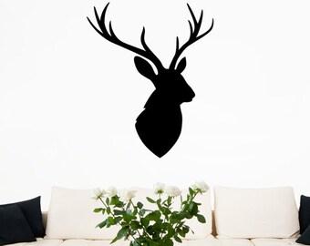 Stags Head Silhouette Wall Sticker - Deer Animal Art Vinyl Decal Transfer - by Rubybloom Designs