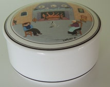 Vintage Villeroy&Boch Design Naif Porcelain box/jar with a scene of chimney/fireplace