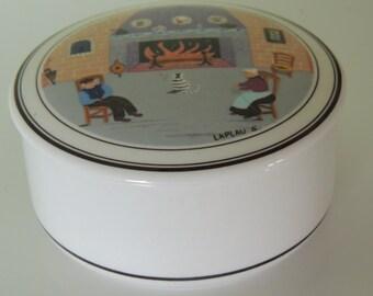 Vintage Villeroy&Boch Design Naif Porcelain box/jar with a scene of chimney/fireplace