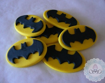 12x Edible Batman Symbol cupcake toppers