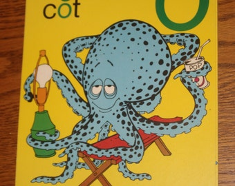 Large Vintage Phonics Flashcard - Short O - Octopus - Yellow Poster - Learning Tool