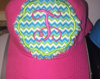 Frayed, raggy patch monogrammed cap with pink initial, appliqued & embroidered, hot pink hat with teal chevron patch, adjustable