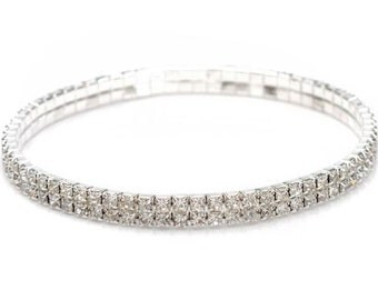 Silver Plated Rhinestone Crystals Bangle/Anklet