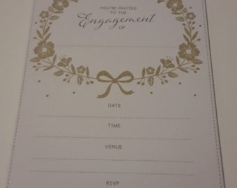 Party Invitation & Envelope - Engagement x 16 - recycled paper