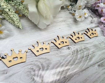 Wooden 3mm Thick Craft Shapes Pack of 10 - Princess Crowns