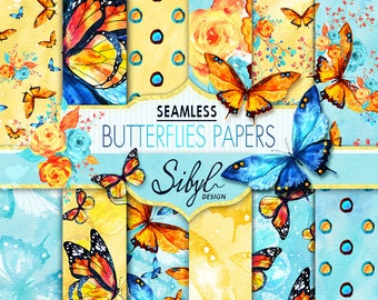 60% OFF SALE, Digital Watercolor Butterflies Paper Pack, Watercolor Seamless Pattern, Watercolor Butterfly Flowers, Hand Painted Paper