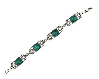 Art Deco Rhinestone Bracelet, Rhodium Plated Sterling Silver, Chrysoprase Emerald Green Glass Pyramids, Antique Rhinestone Bracelet, Link