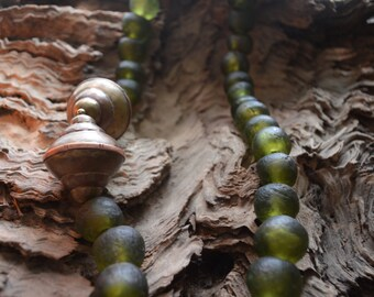 Green Ghanian glass beaded necklace