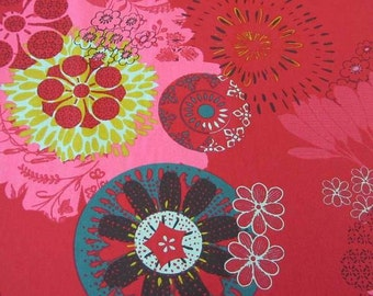 cotton fabric Mandala red pink petrol France