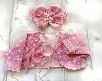 Bolero and Head Band-pink bolero with pink head band-set design bolero and head band-special design bolero and head band-pink baby shower