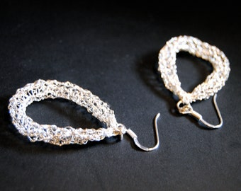 Earrings knitted silver of silver wires 925