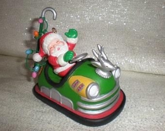 """Vintage Enesco """"Bumper Car Santa"""" Ornament"""