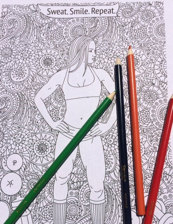 Fitness Coloring Pages Fitness Colouring Page Motivational