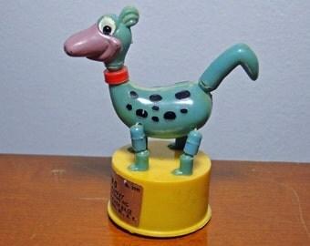 """Dino Push Puppet Toy - Copyright Hanna Barbera Productions - Kohner Bros. Ny Ny - 3 1/2"""" Tall - Neat Toy!"""