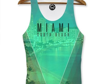 Miami South Beach Vest Print Men Pool Party Singlet Sleeveless Tank PP109