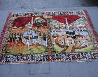 Vintage Decorative wall rug,illustrated holy Mecca and Kaaba,velvet rug,69'' x 47'' inches