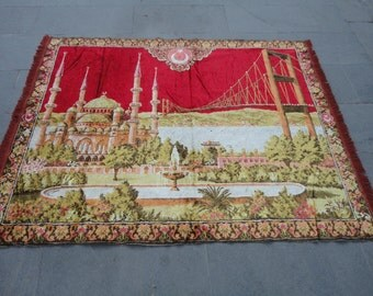 Wall hanging rug,made of velvet,illustrated Istanbul-bosphorus-suleymaniye mosque,61'' x 47''