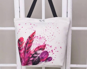 Handmade digital printed beach bag - watercolour pattern print - stylish beach bag FEATHERS