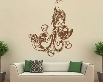Kik1656 Wall Decal Sticker Indian Peacock Bird Sacred Animals Living Bedroom Part 53
