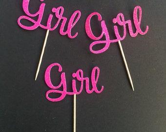 12 Girl pink glitter cupcake topper, gender reveal cupcake topper, babyshower, glitter pink cupcake topper