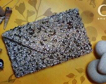 Handmade envelop clutch with beach look