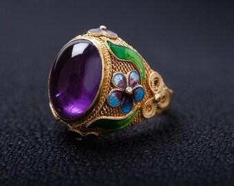 Amethyst Enamel Filigree Ring