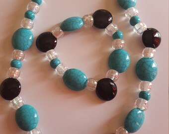 Teal Black and Iridescent Necklace and Bracelet