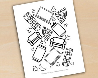 Binge Watcher Humor Coloring Page Netflix Macbook Remote Pizza Popcorn Printable Instant Download DIY