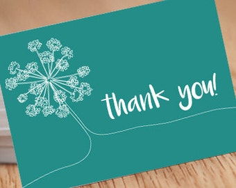 Single-line flower Turquoise, 5x7 thank you Postcard INSTANT DOWNLOAD