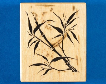 """Bamboo Rubber Stamp by PSX - Asian Bamboo Stalk with Leaves - Personal Stamp Exchange F-1741 """"Tapestry Bamboo"""""""