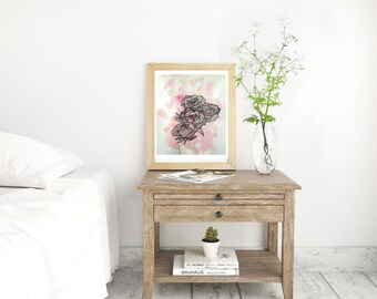 Pink Roses Illustrative Illustration Art Print A4 Pretty Home Decor