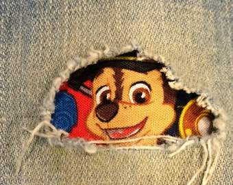 """Set of 2 Paw Patrol 4"""" x 4""""  """"Peek a Boo""""  Jean Patches Super Strong Iron On- Denim by Hol(e)y Patches"""
