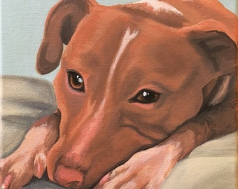 Custom Painted Pet Portrait on Wrapped Canvas (8x8in)