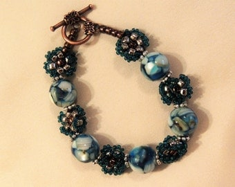 Blue Mother of Pearl and Seed Bead Bracelet